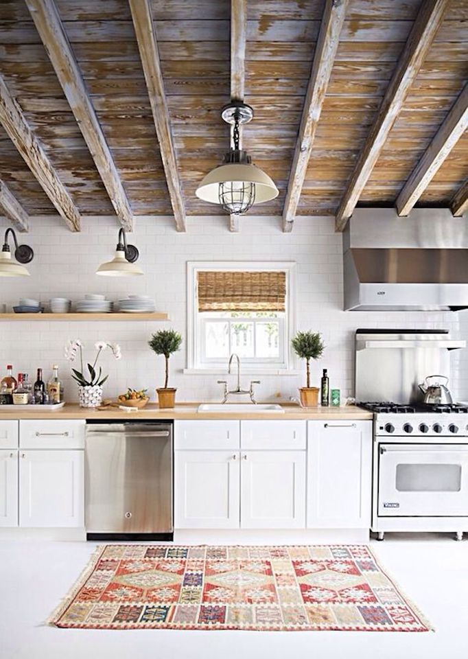 rustic wood beams kitchen