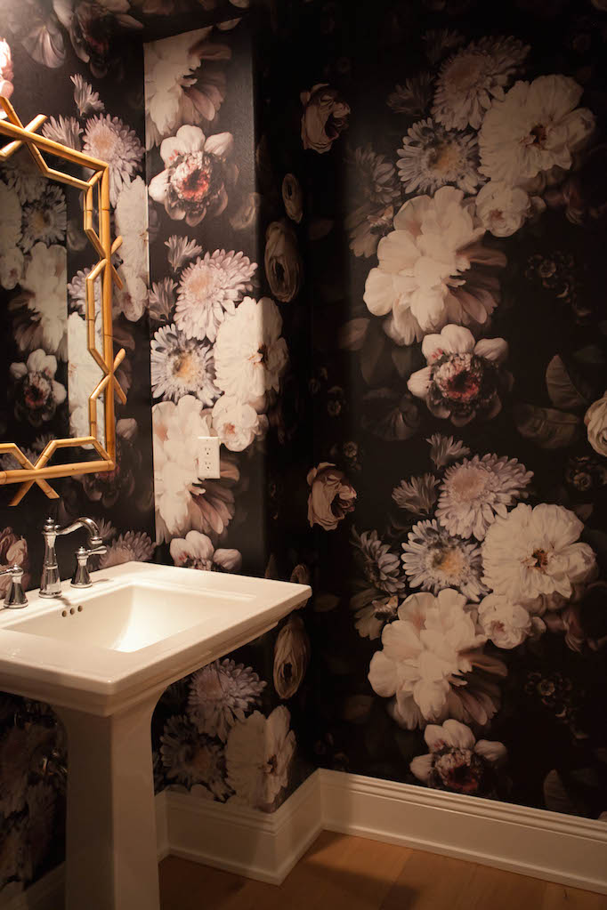 Before and after bold and beautiful bathroom becki owens for Dark bathroom wallpaper