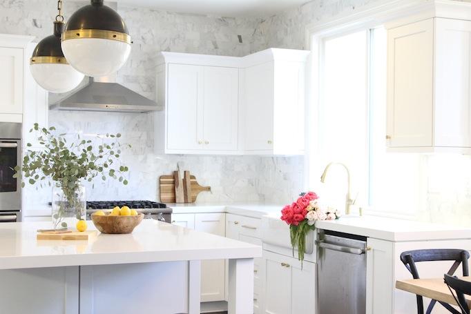 Black, White and Brass Kitchen Becki Owens