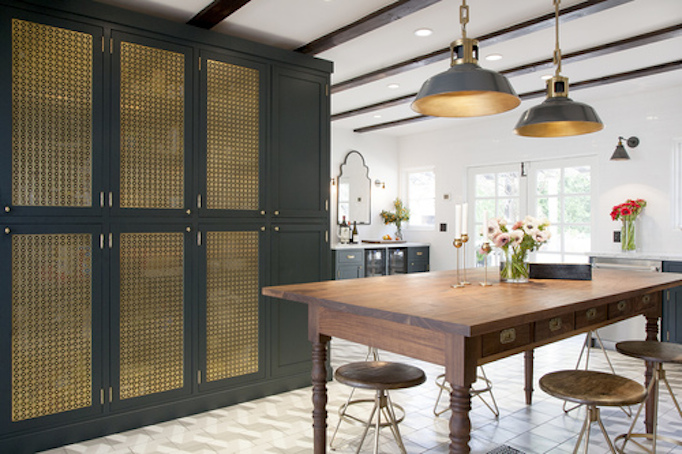 Navy White And Brass Kitchen