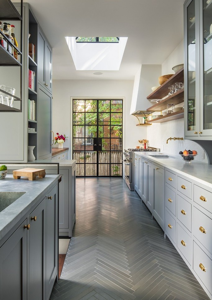 gray brass and steel kitchen
