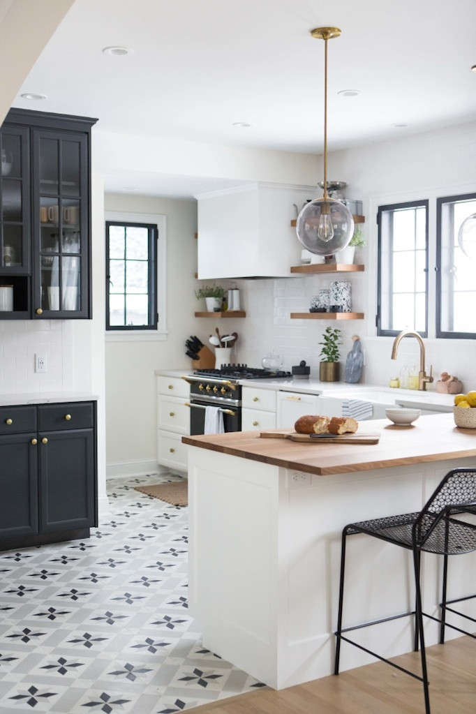 Black And White Tile Kitchen Simple Charming Br Renovation