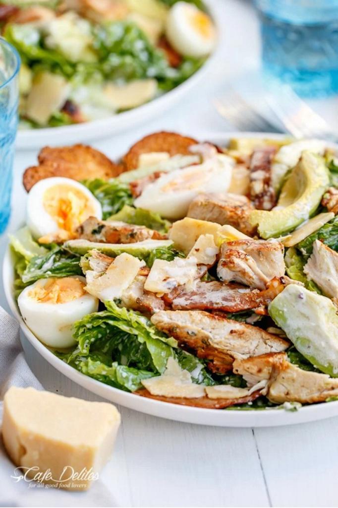 skinny chicken and avacado cesar salad