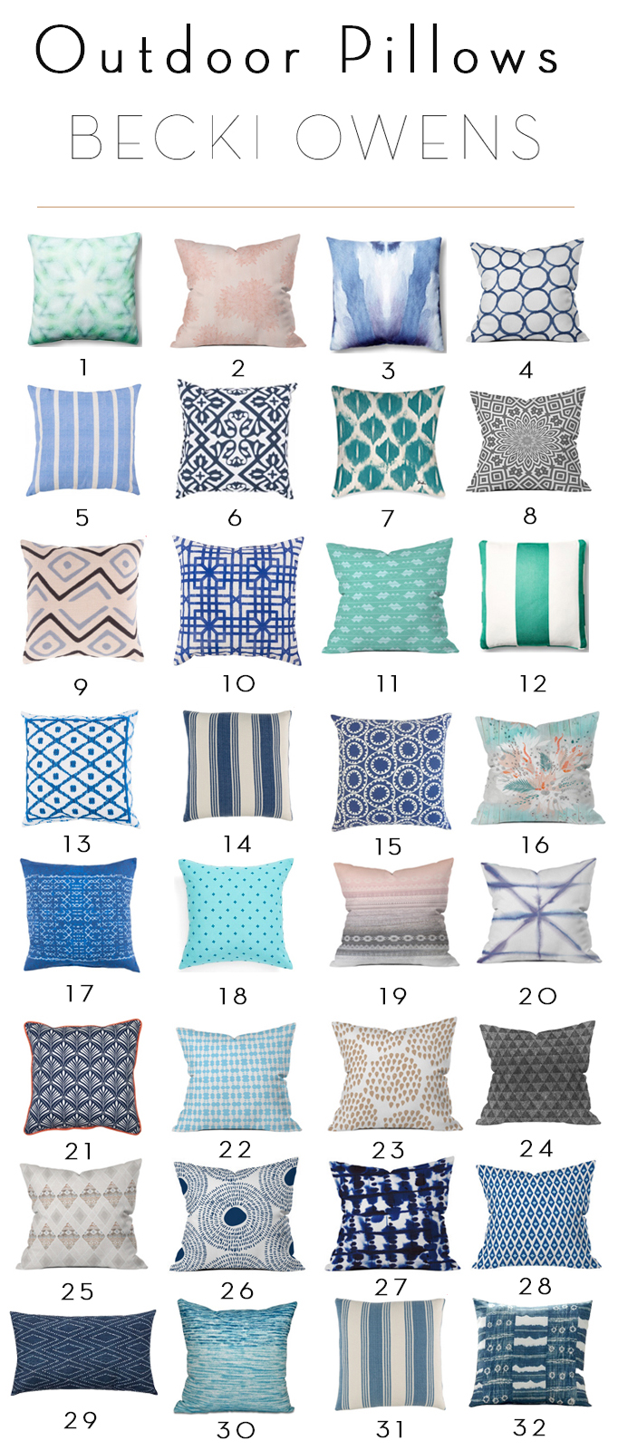 32 Outdoor Pillows under $100