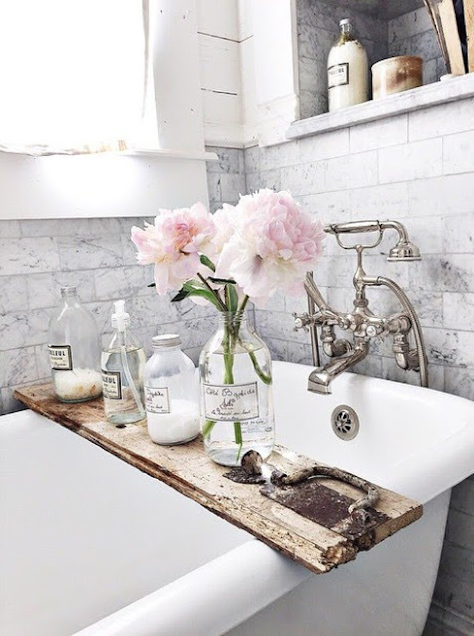 rustic and marble bath