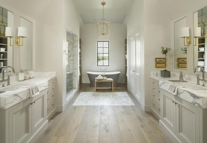 classical modern brick home master bath