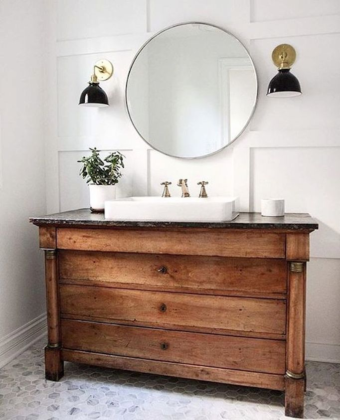 6 inspiring bathrooms pinterest favorites - Antique traditional bathroom vanities design ...