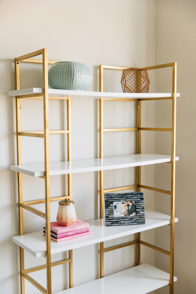 industrial shop home helena bookcase brass