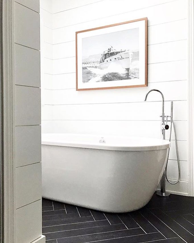 BECKI OWENS Black Herringbone White Shiplap Bathroom
