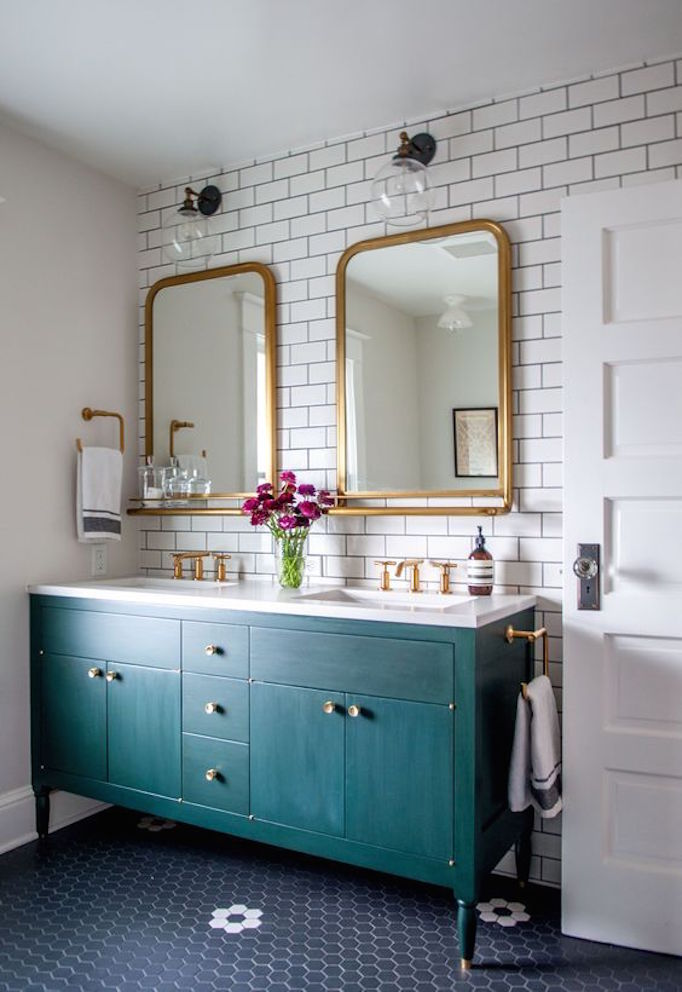 painted+green+vanity