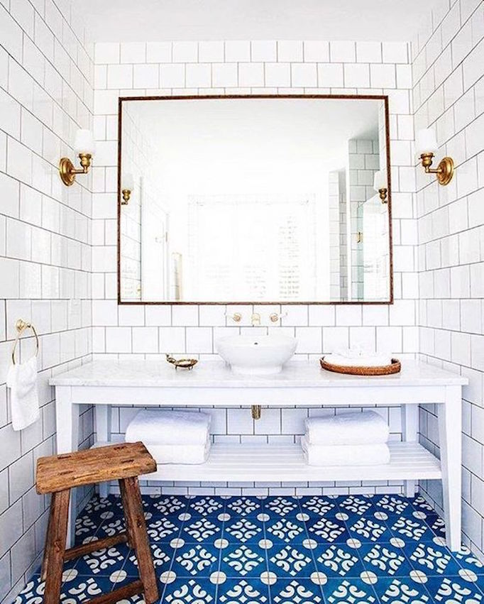 White Bathroom 2017: Moroccan And Cement Tile