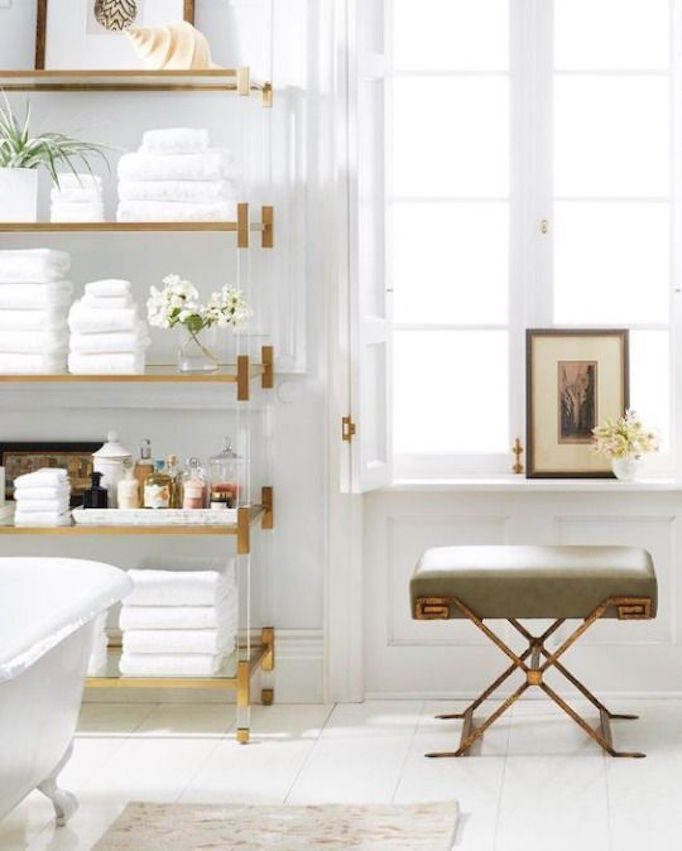 BECKI OWENS Lucite and Brass Bathroom