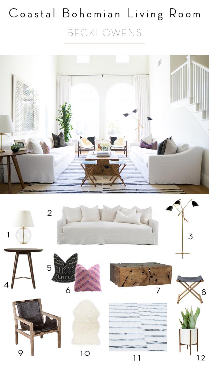 coastal bohemian living room